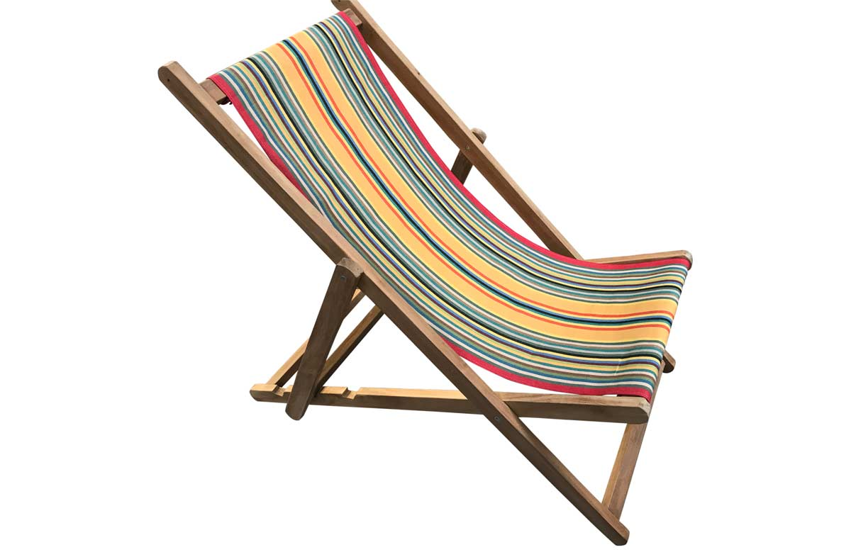 Deckchairs with fabric in medley of colours