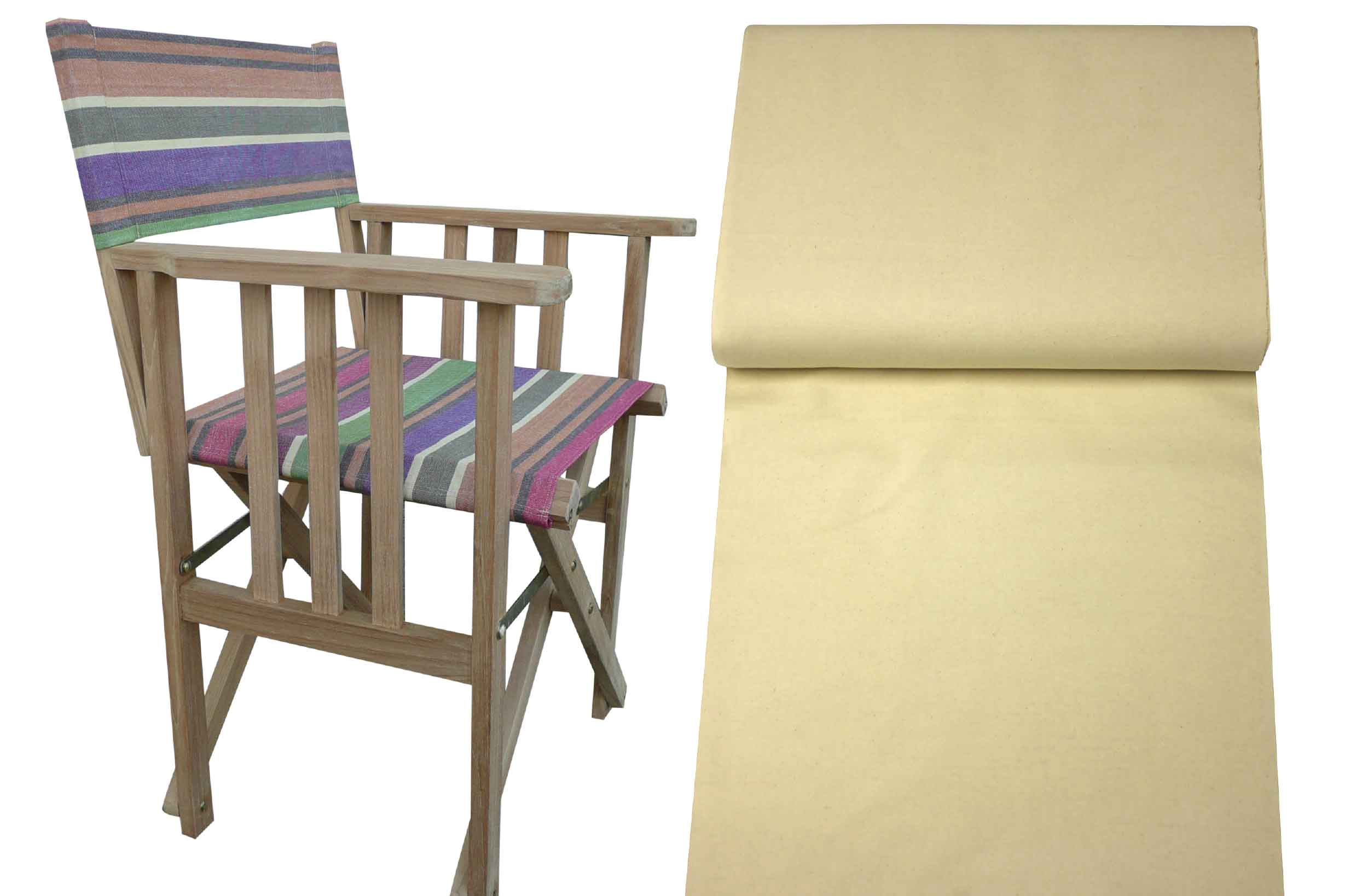 Teak Directors Chair - Natural Stripe