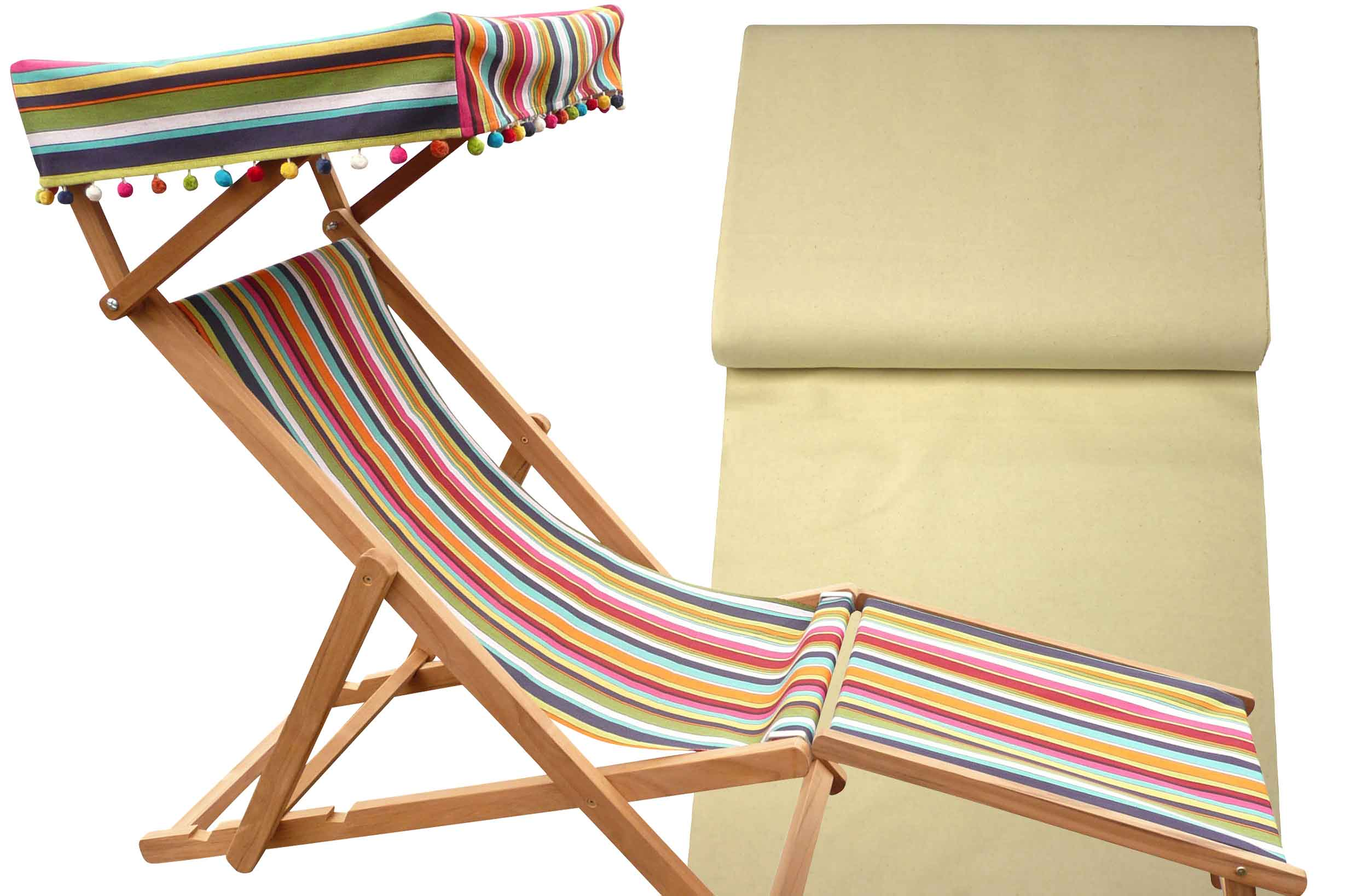 Edwardian Deckchairs with Canopy and Footstool natural
