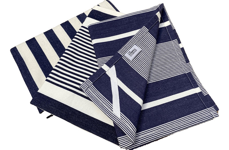 Navy Blue Striped Tea Towels - Set of 3 Nautical Navy Tea towels