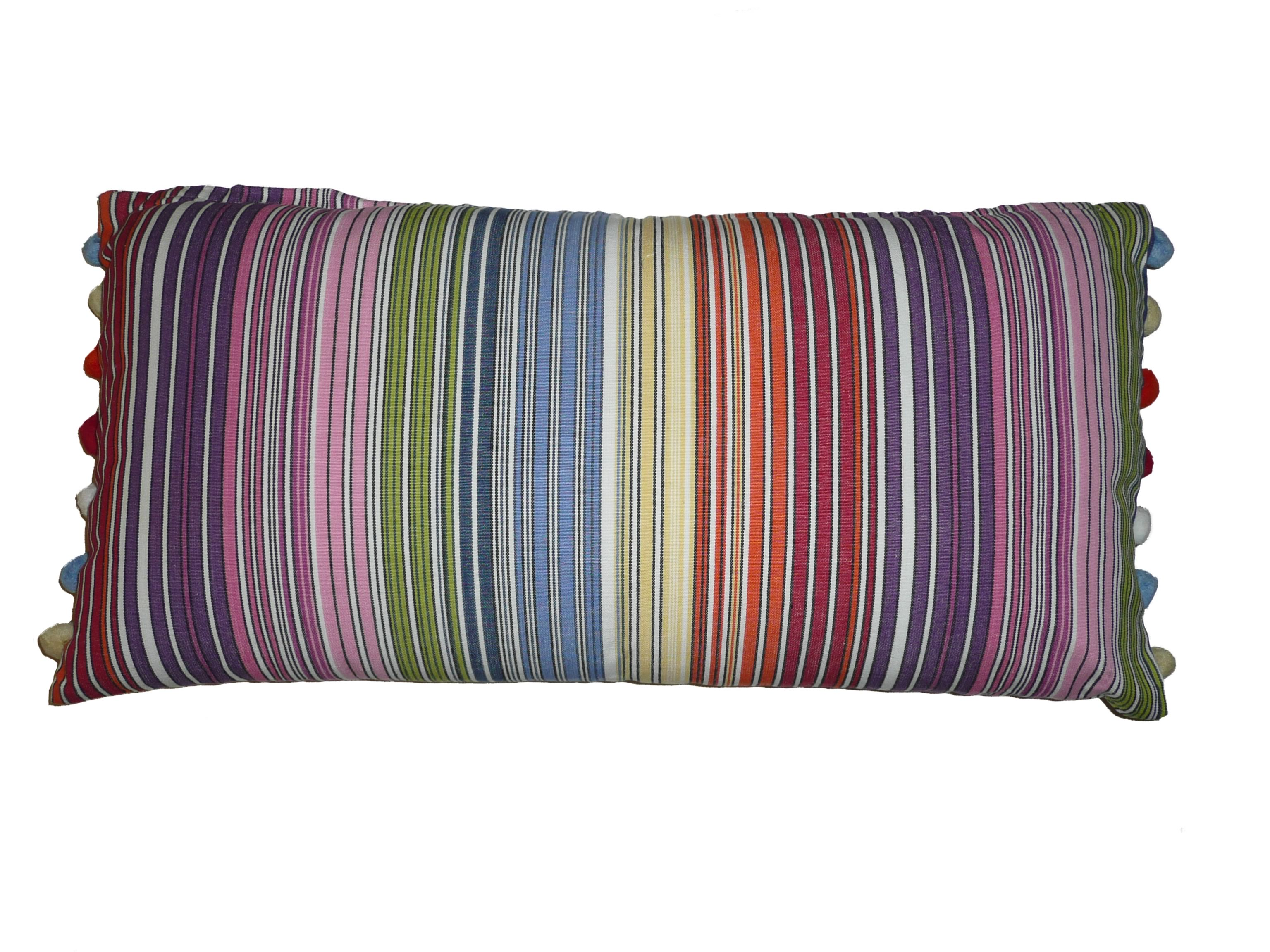 Narrow Rainbow Multi Stripe Striped Oblong Cushions with Bobble Fringe  Rhumba Stripes