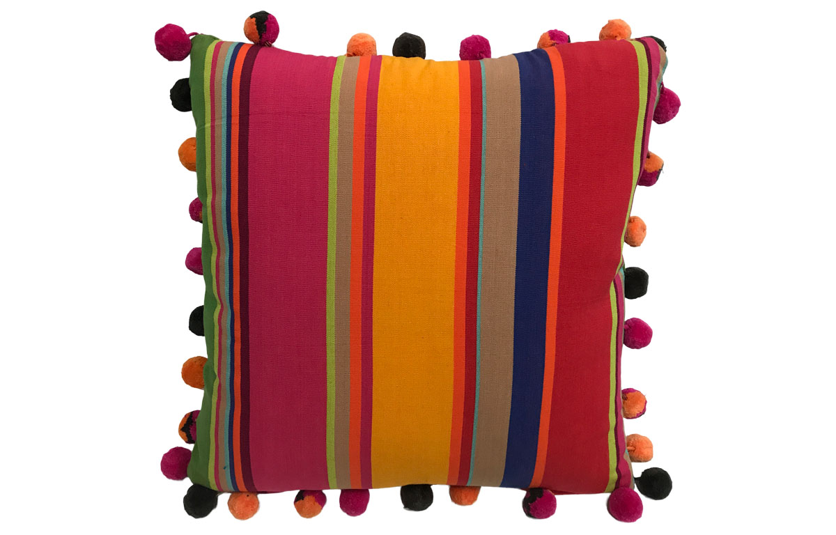 50x50cm Striped Pompom Cushions pink, green, gold