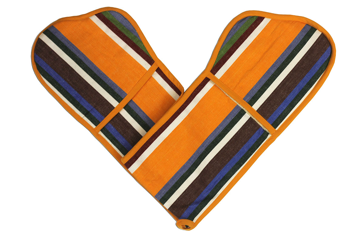 Tangerine, blue and brown stripey oven gloves