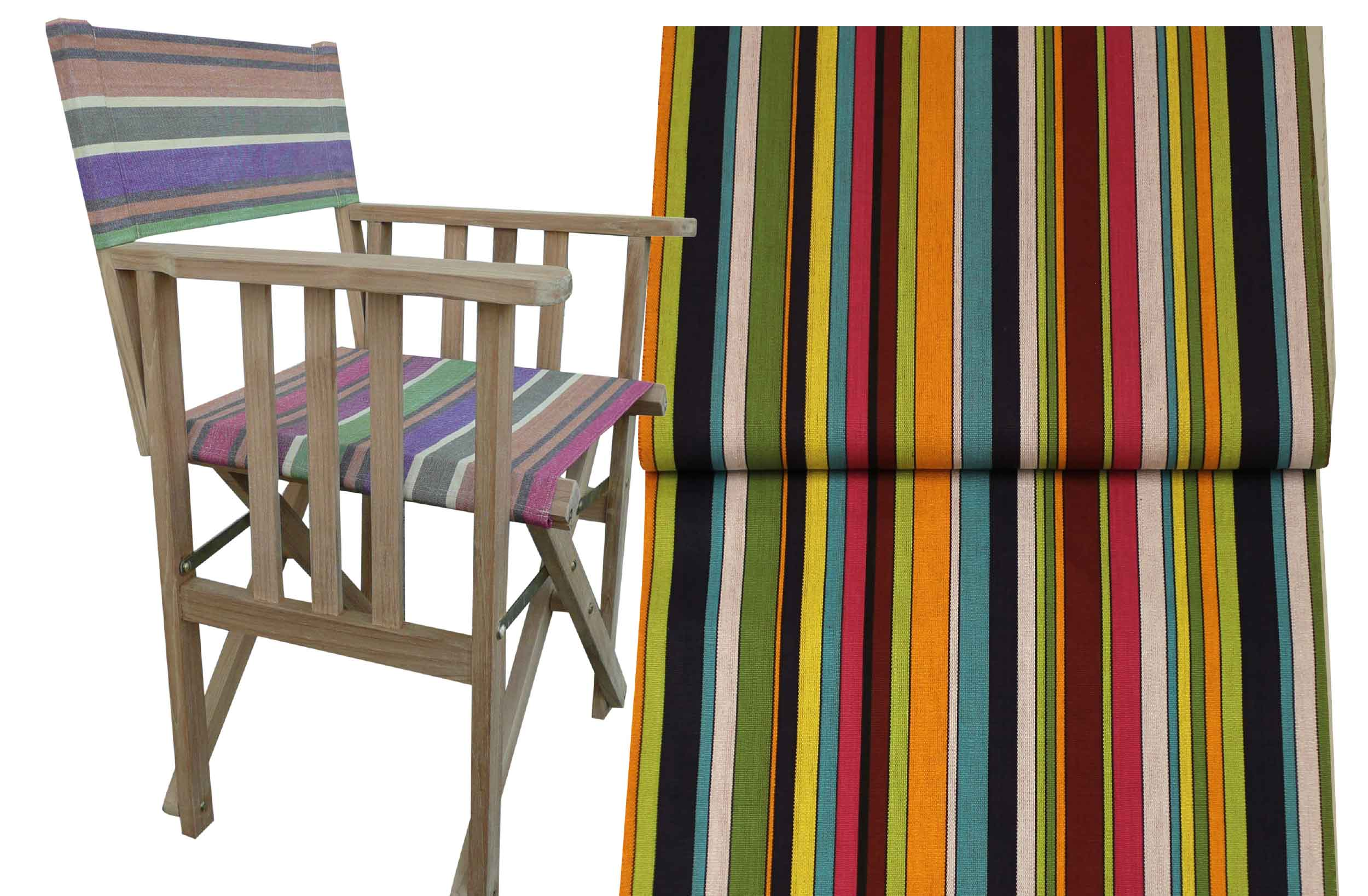 Teak Directors Chair - Paintballing Stripe