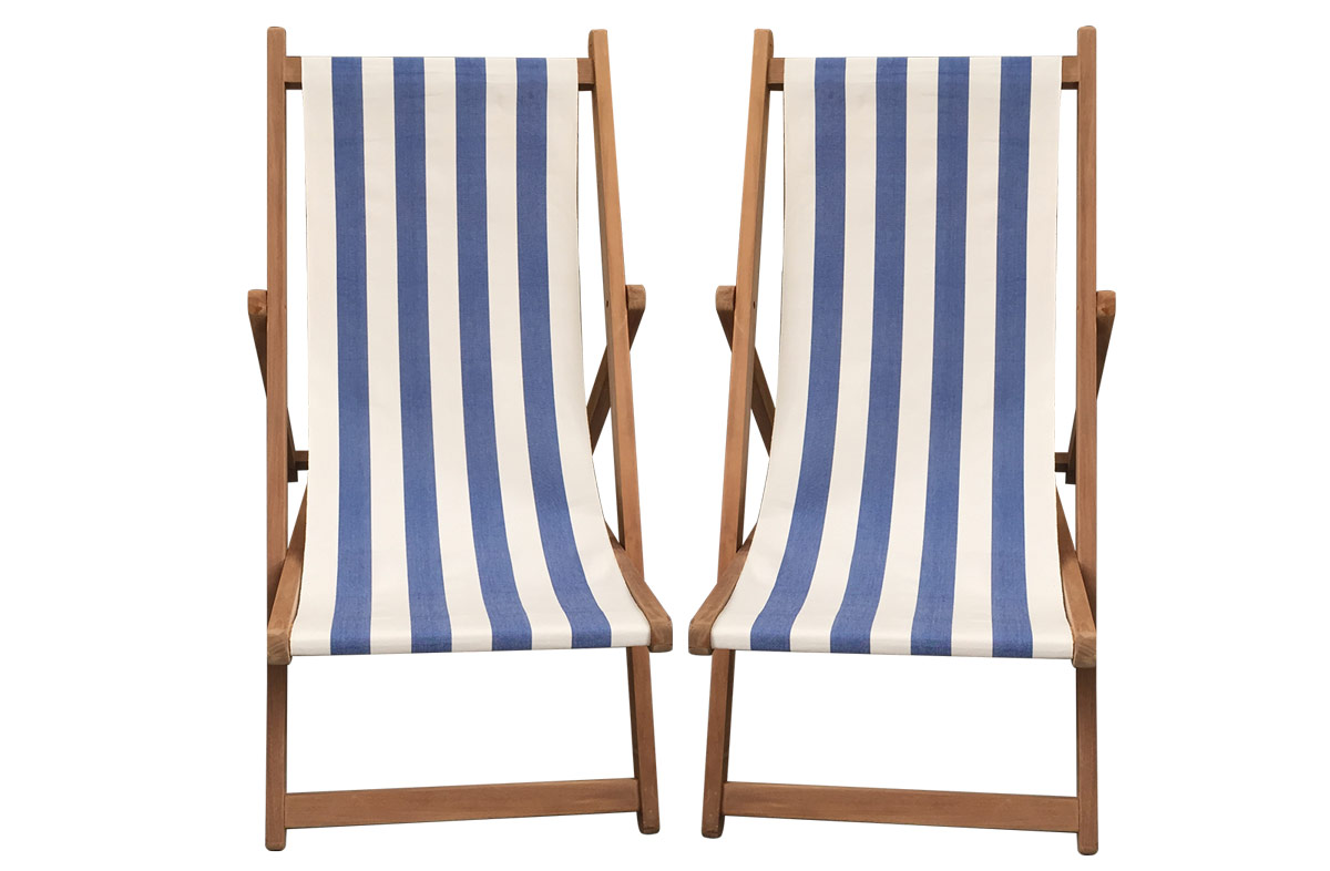 Buy a Pair of Blue & White Stripe Deck Chairs from The Stripes Company