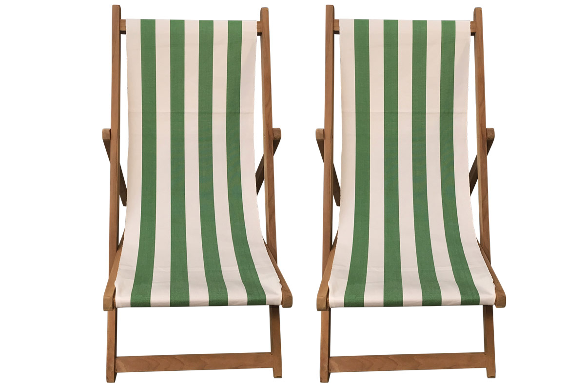 A Pair Of Green White Stripe Deck Chairs From The Stripes Company