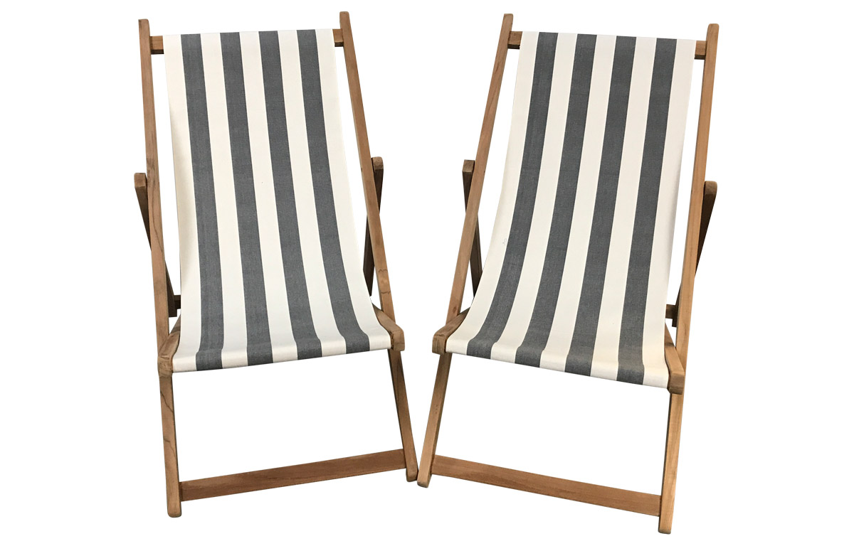 Pair of Grey & White Stripe Traditional Wooden Deck Chairs