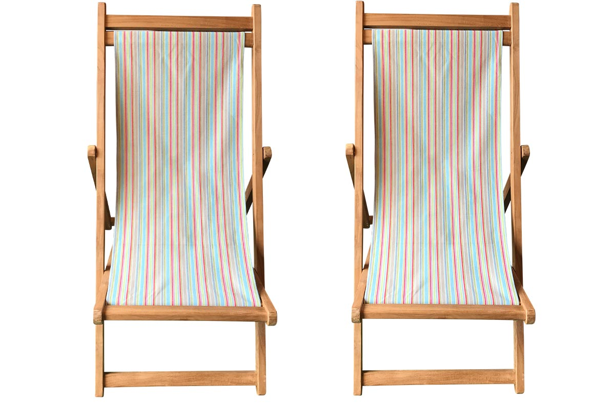 Pair Duck Egg Blue Beige Stripe Teak Deckchairs | The Stripes Company Australia , beige, light green