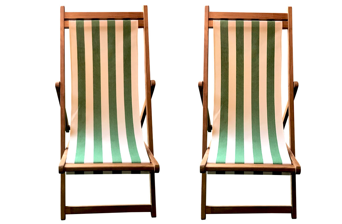 Green & White Stripe Teak Deckchairs | The Stripes Company Australia