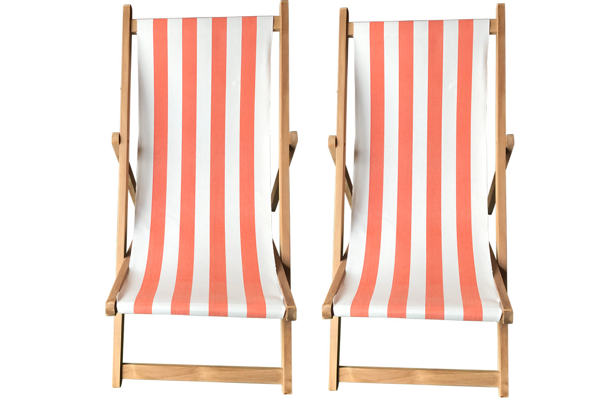 Buy a Pair of Orange & White Stripe Deck Chairs from The Stripes Company
