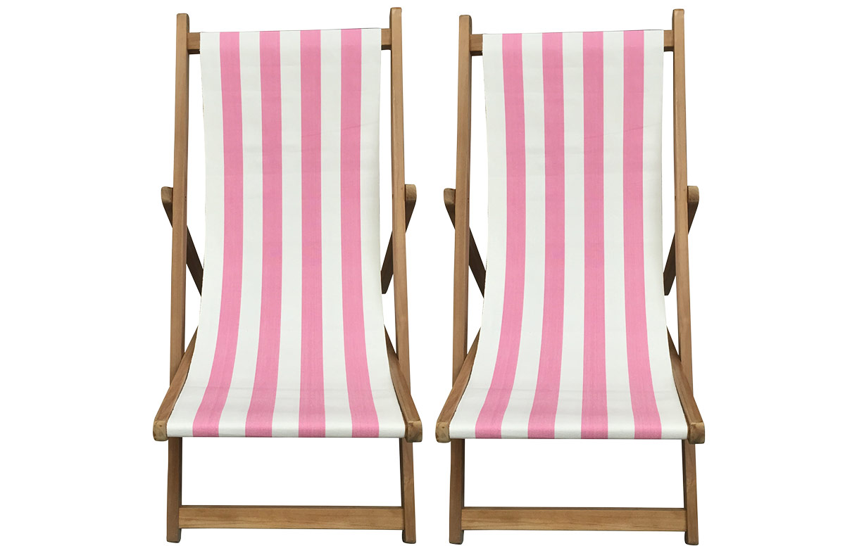 Buy a Pair of Pink & White Stripe Deck Chairs from The Stripes Company