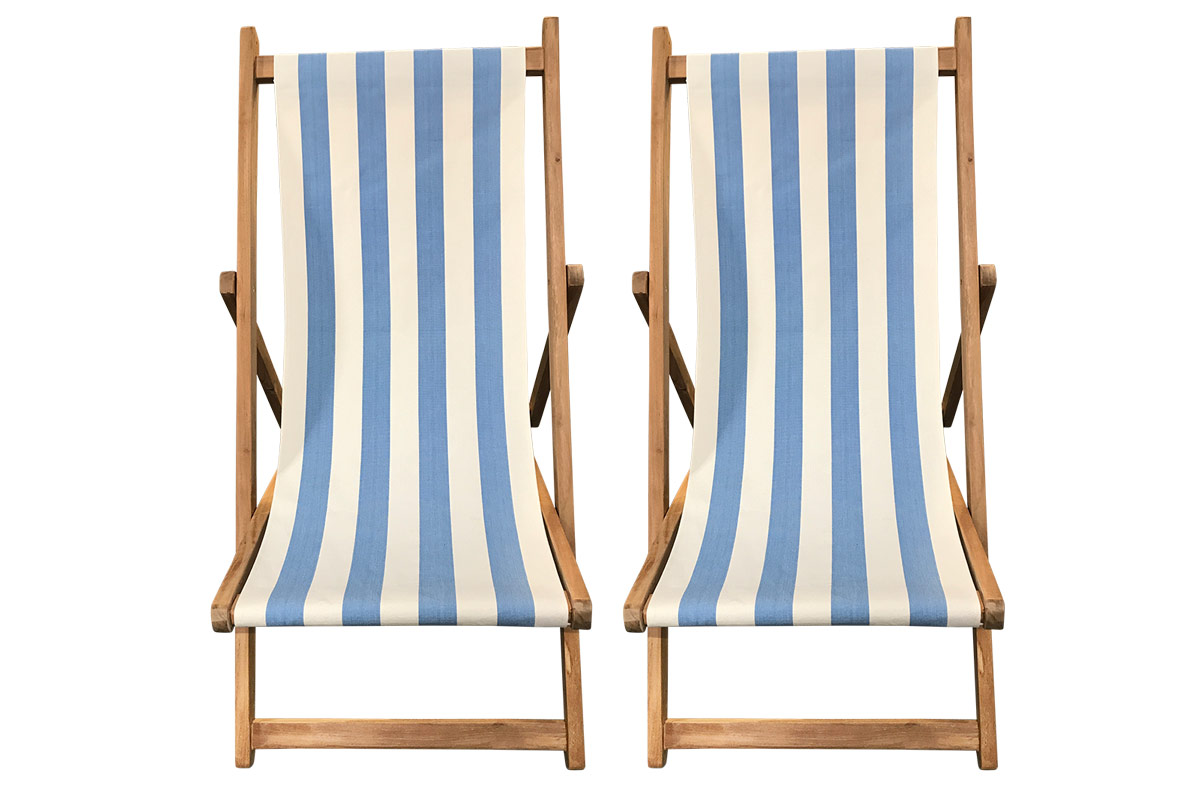 Buy a Pair of Sky Blue & White Stripe Deck Chairs from The Stripes Company
