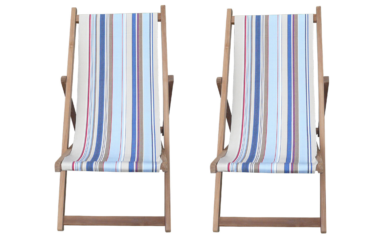 Buy a Pair of Deck Chairs from The Stripes Company with pale blue, light beige, royal blue stripes