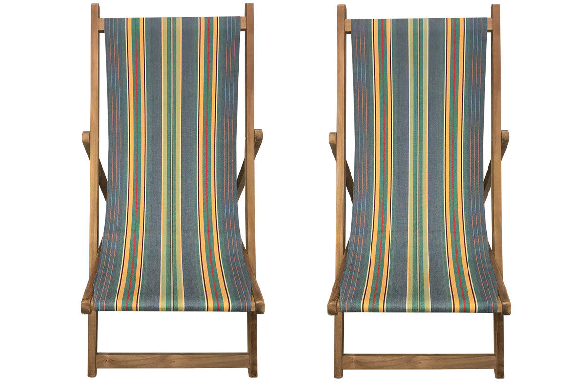 Pair of Vintage Hula Hoop Wooden Deck Chairs from The Stripes Company