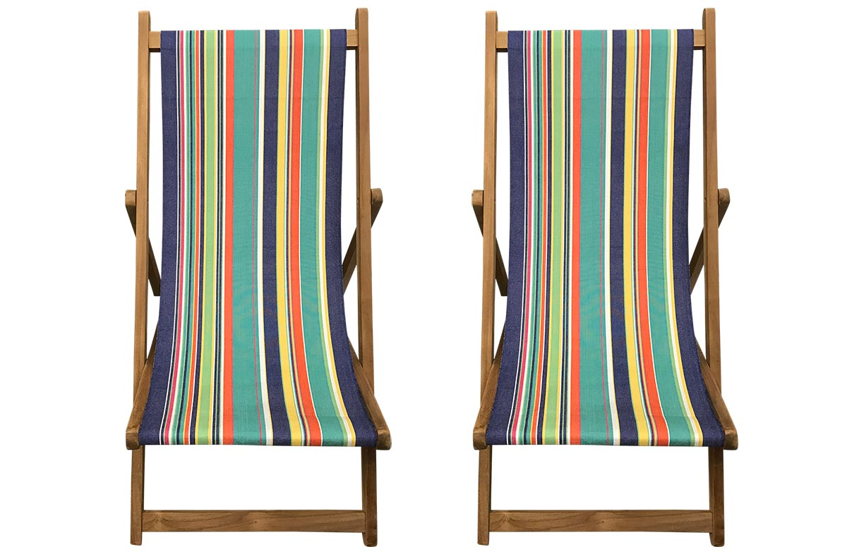 Buy a Pair of Turquoise, Royal Blue, Pale Green Stripe Deck Chairs from The Stripes Company