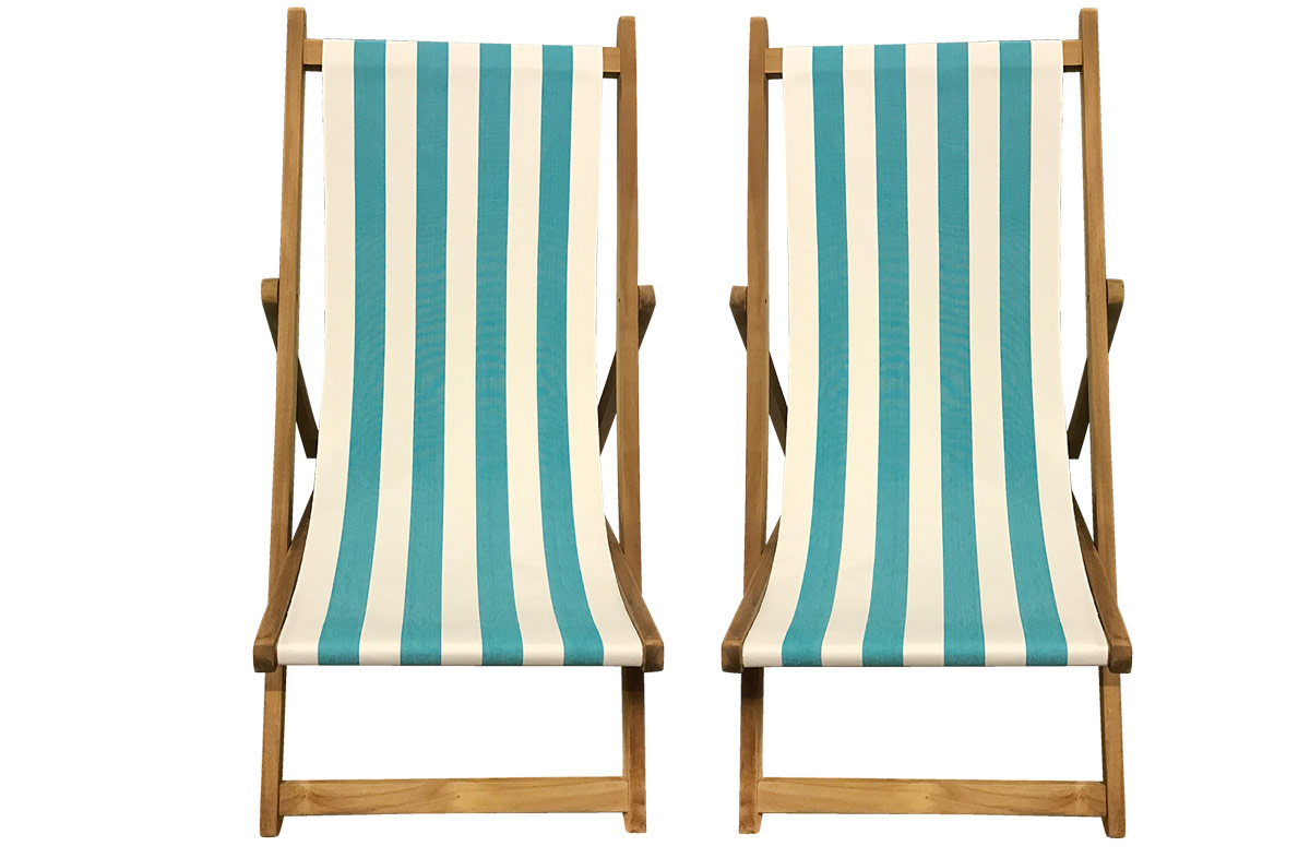 Buy a Pair of Turquoise & White Stripe Deck Chairs from The Stripes Company