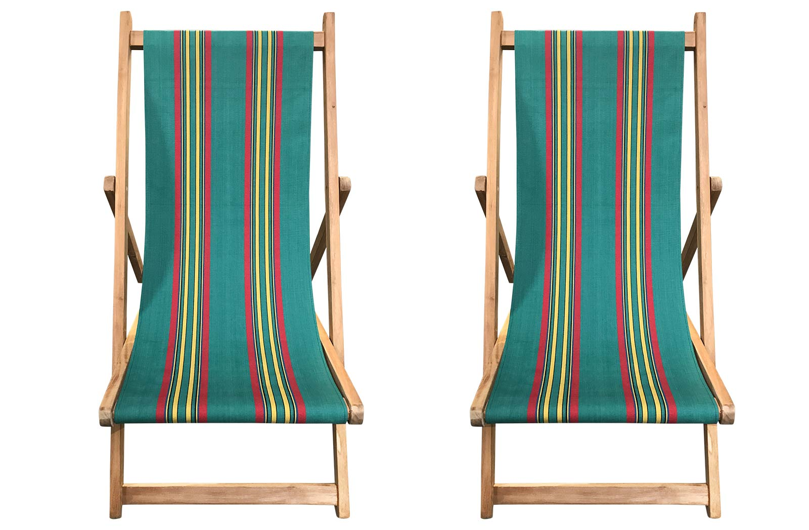 Buy a Pair of Jade green, Red, Yellow Stripe Deck Chairs from The Stripes Company USA