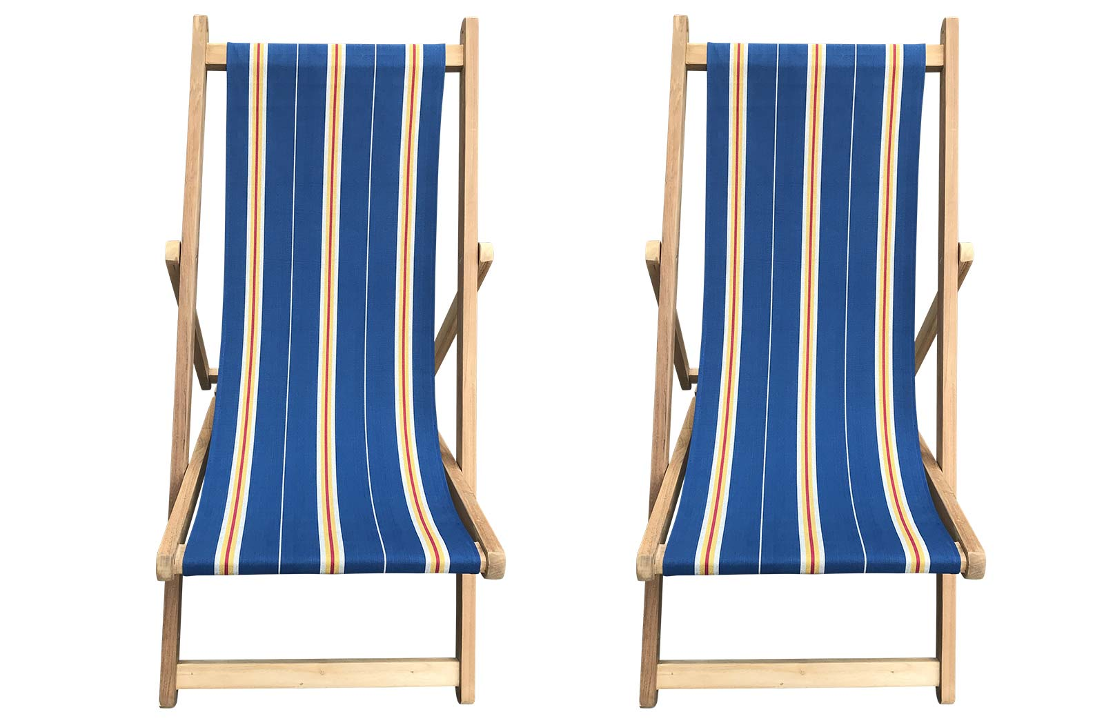 Buy a Pair of Navy Blue Vintage Stripe Folding Wooden Deck Chairs