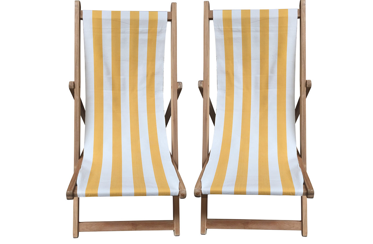 Buy a Pair of Yellow & White Stripe Deck Chairs from The Stripes Company