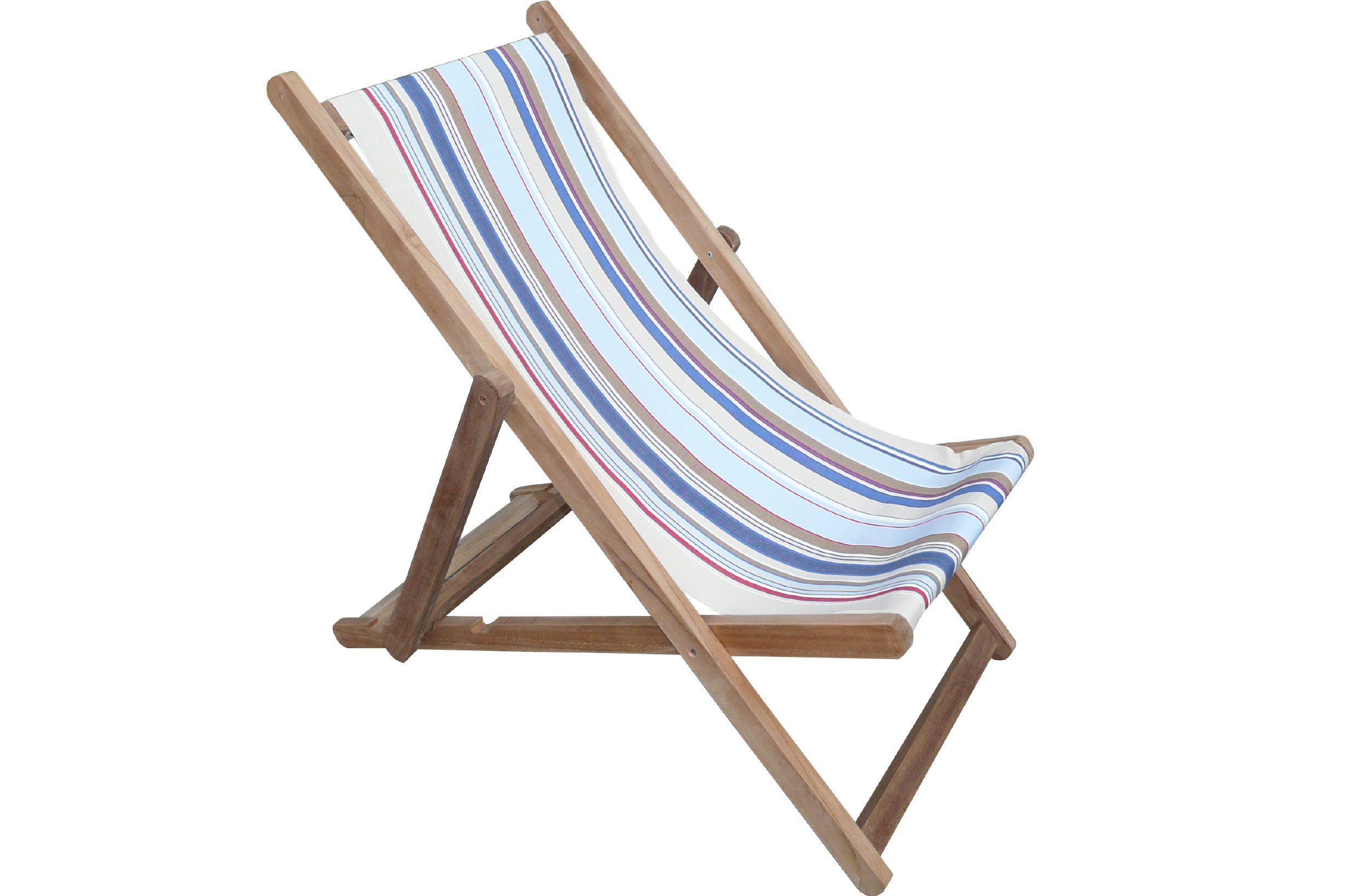 Pale Blue Deckchairs | Folding Wooden Deck Chairs Trapeze Stripes