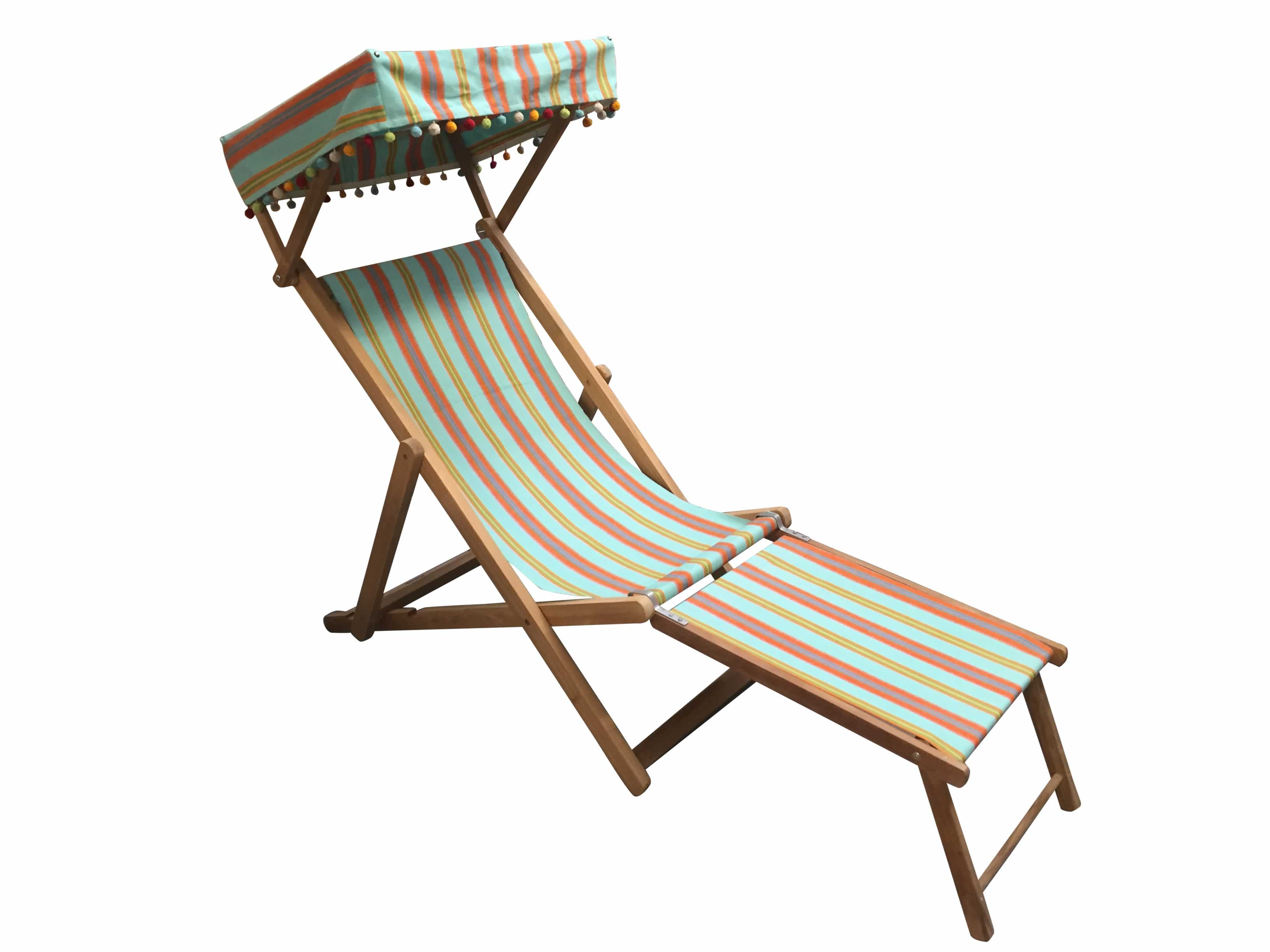 Petanque Turquoise Edwardian Deckchairs with Canopy and Footstool