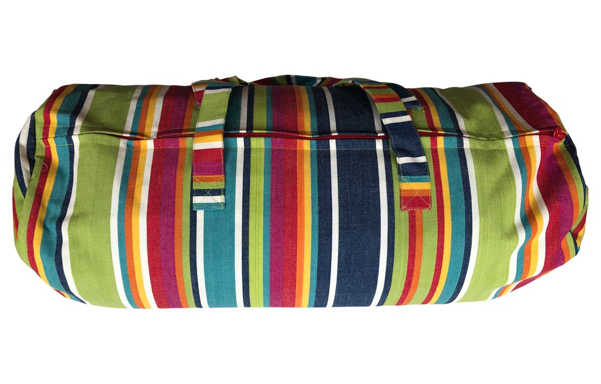 Colourful Stripe Picnic Mat with Bolster Carry Bag