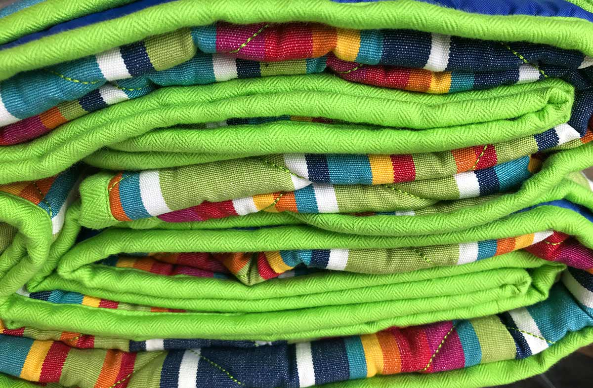 blue, green, red - Striped Picnic Blankets with Carry Bag | Roll Up Stripe Picnic Rugs