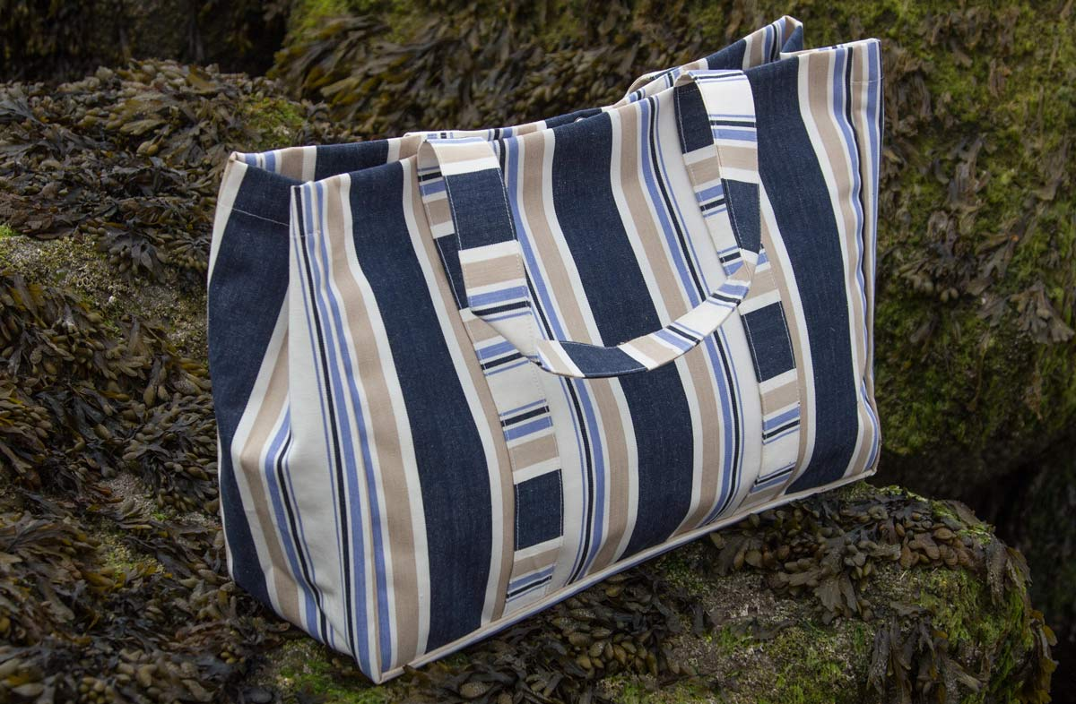 Blue and Beige Stripe Extra Large Beach Bag
