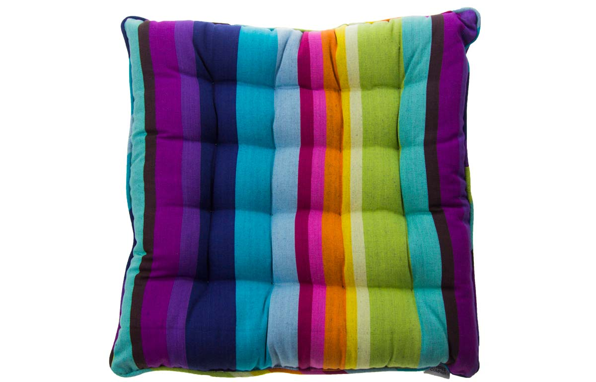 Bright Rainbow Stripe Piped Seat Pads