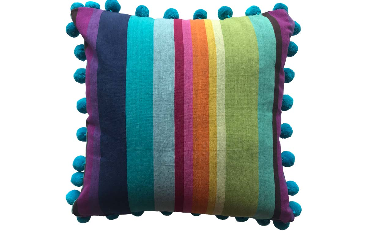 50x50cm Bright Rainbow Stripe Pompom Cushion
