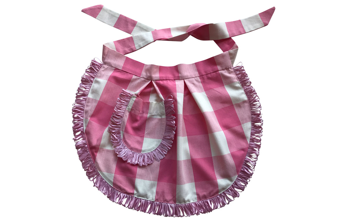 Pink and White Gingham Waist Apron from The Stripes Company
