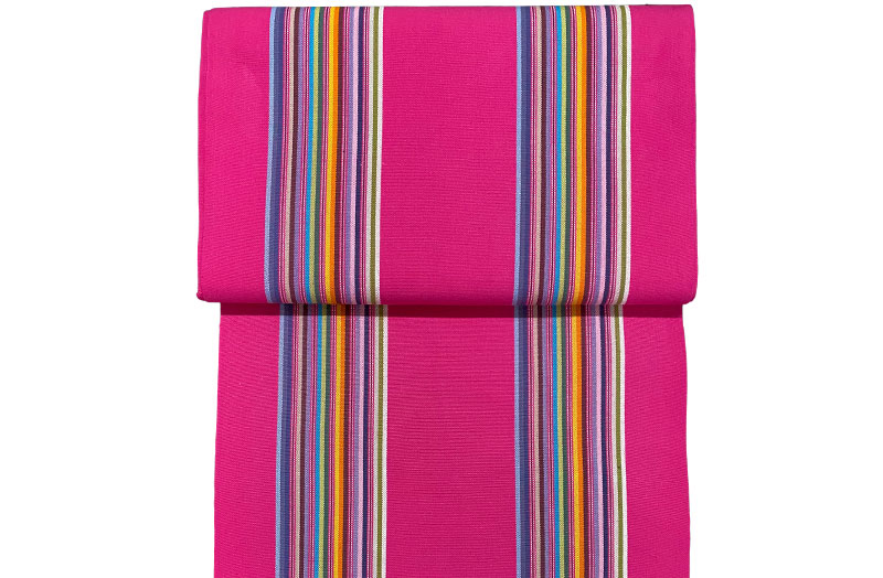 Bright Pink Deck Chair Canvas with two bands of fine rainbow stripes