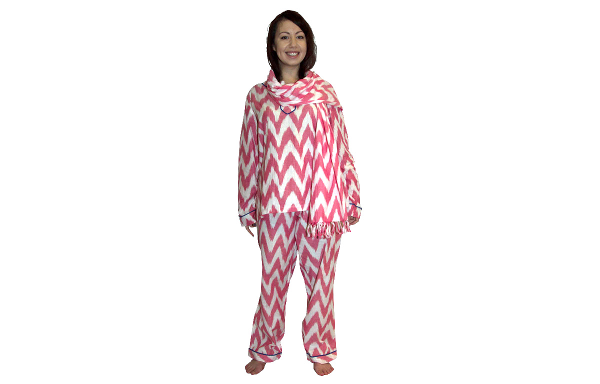 Pink and White Three Piece Lounging Pyjama Set - Medium