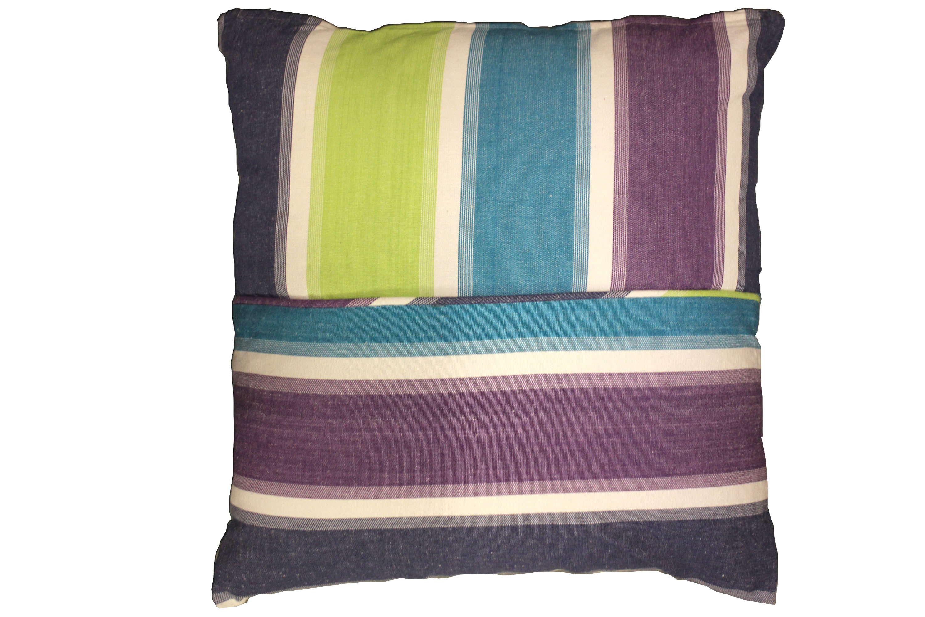 Striped Scatter Cushions - lime green, turquoise, white, navy, purple stripes