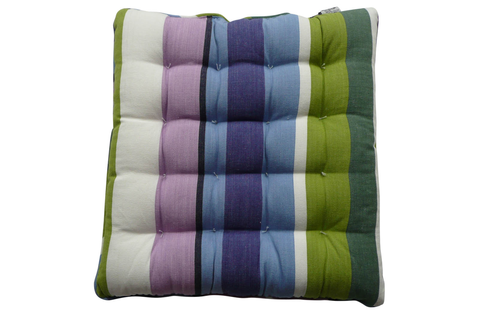 Striped Seat Pads with Piping green, blue, purple
