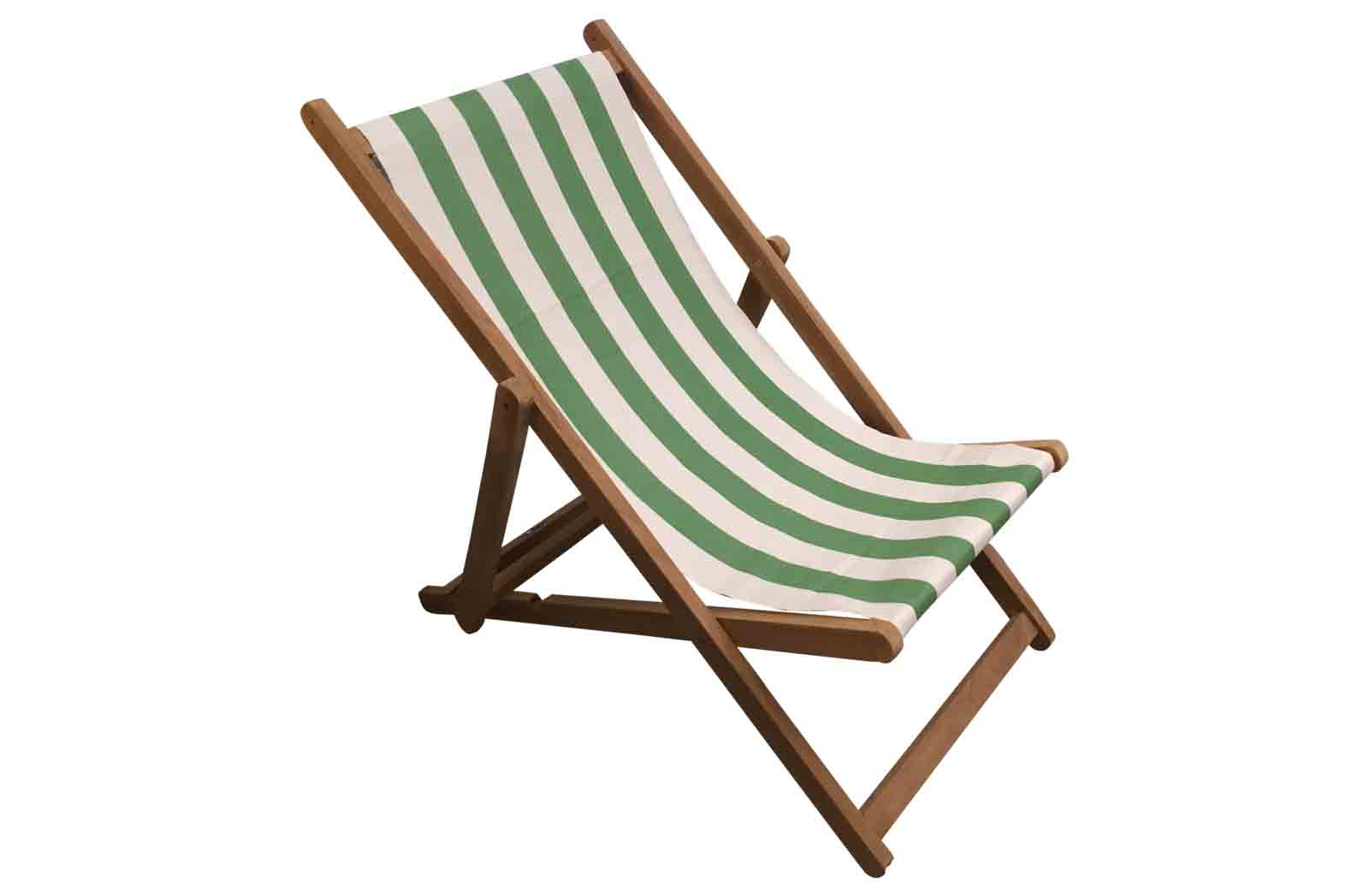 Green and White Stripe Deckchairs | Folding Wooden Deck Chairs - Pole Vault Stripe