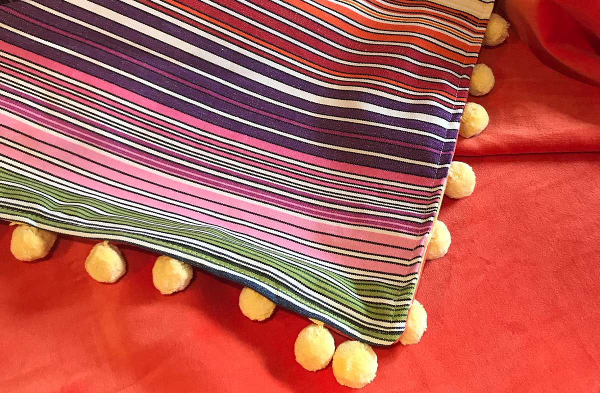 Pom Pom Throw with Rainbow Stripe Cotton, Orange Velvet, Lemon Yellow Pom Poms