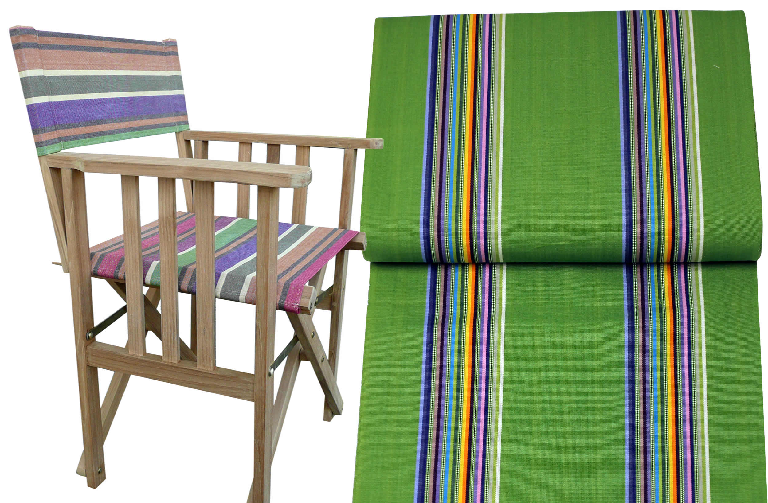 Teak Directors Chair - Punting Stripe