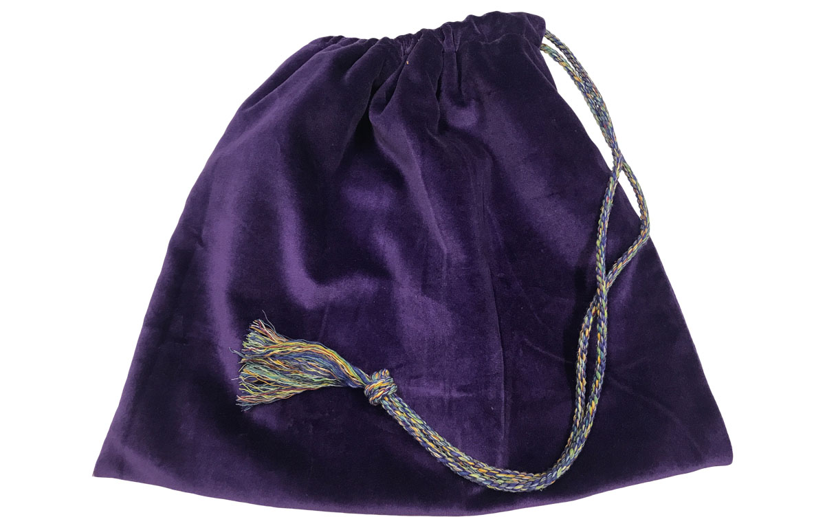 Purple Velvet Handbag Pouch with Drawstring