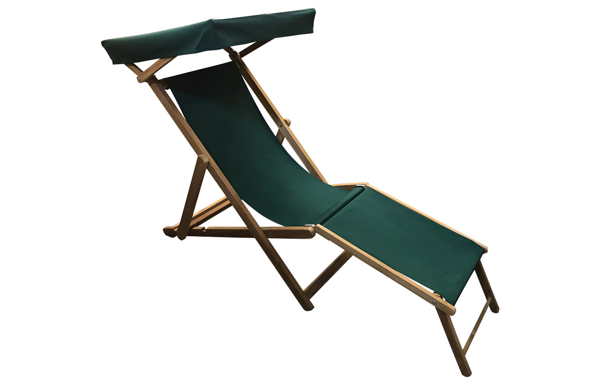 Dark Green Edwardian Deckchair with Canopy and Footstool