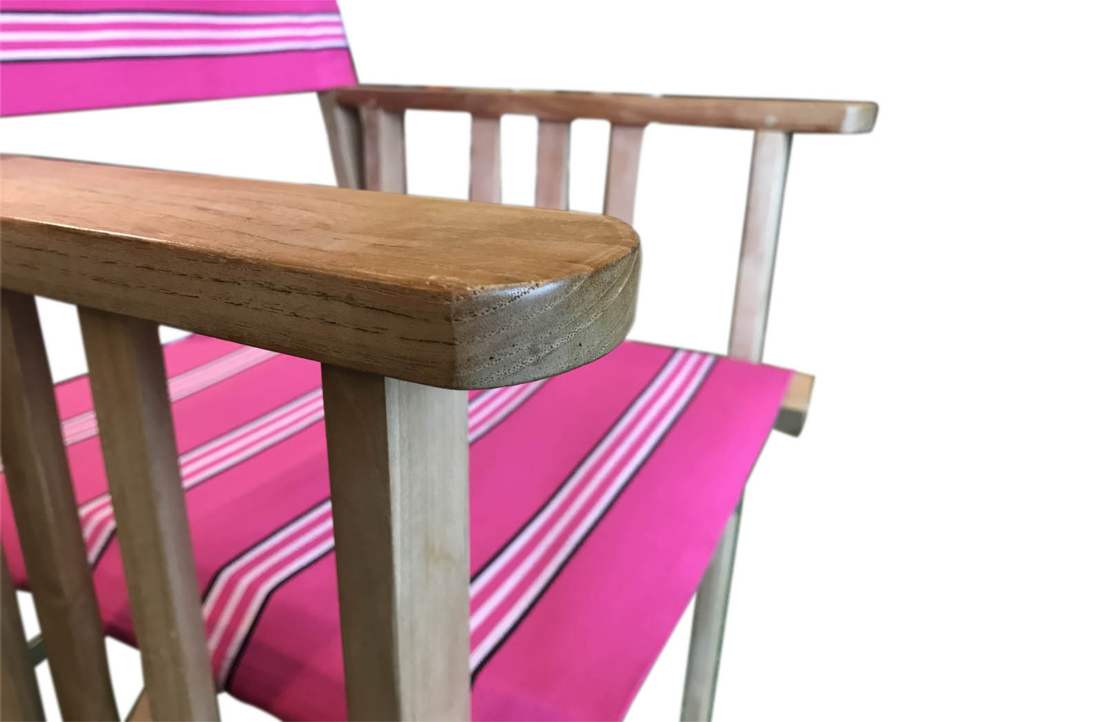 Pink Stripe Teak Directors Chairs With Covers Of Wide Pink Stripes  Interspersed With Three Thin White Stripes Edged In Black For A Very  Striking Directors ...