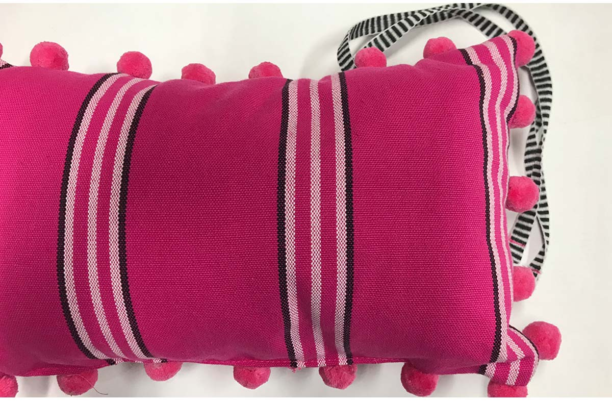 Racquets Bright Pink Deckchair Headrest Cushions | Tie on Pompom Headrest Pillow