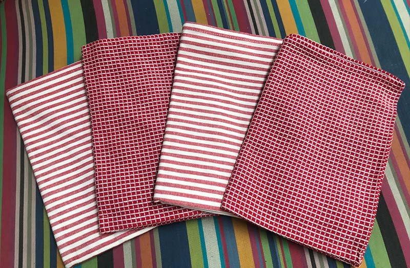 Red and White Tea Towels Set of 4