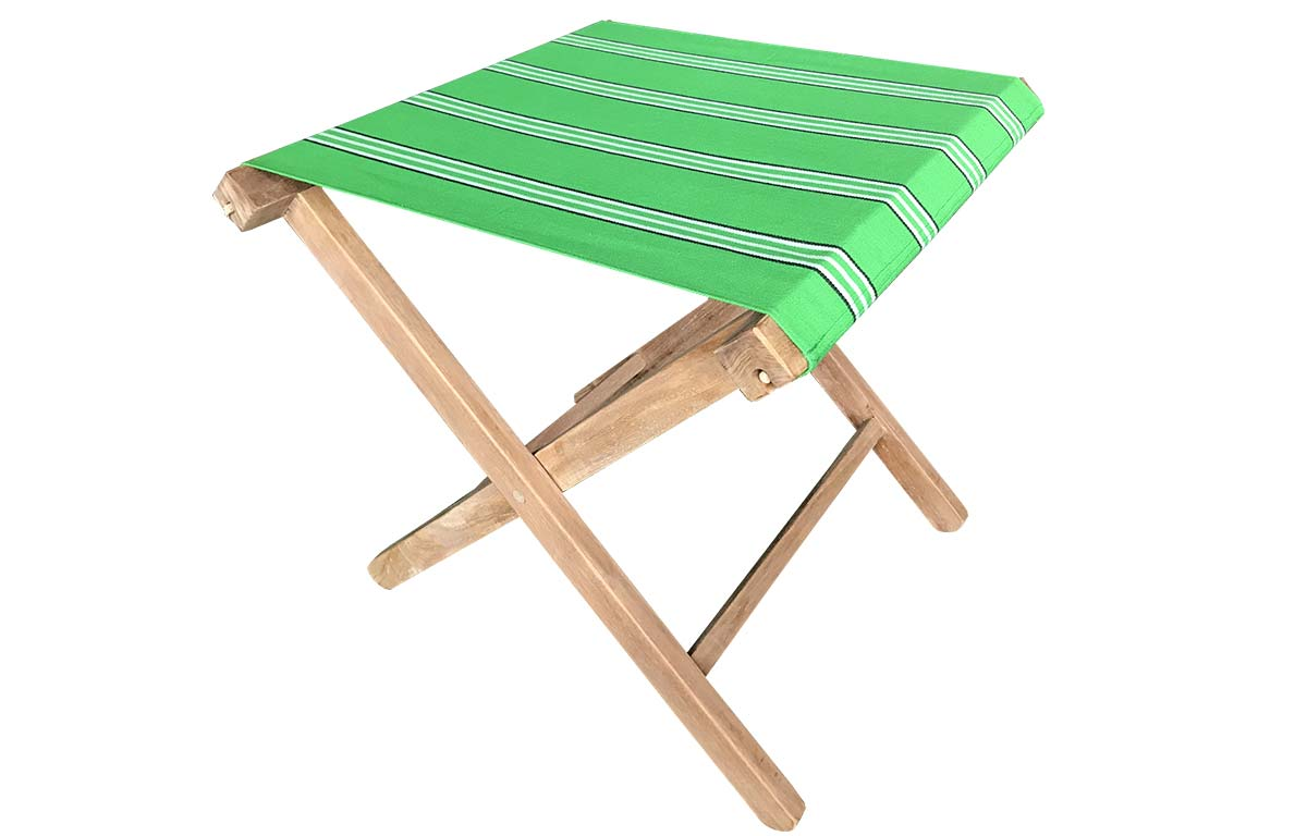Teak Folding Stool with bright emerald green striped seat