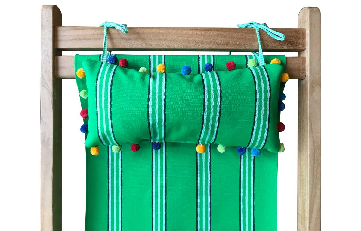 Rounders Deckchair Headrest Cushions | Tie on Pompom Headrest Pillow emerald green