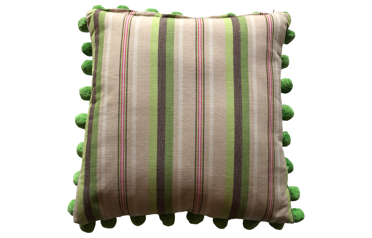 50x50cm Green, Beige, Chocolate Stripe Pompom Trimmed Cushion