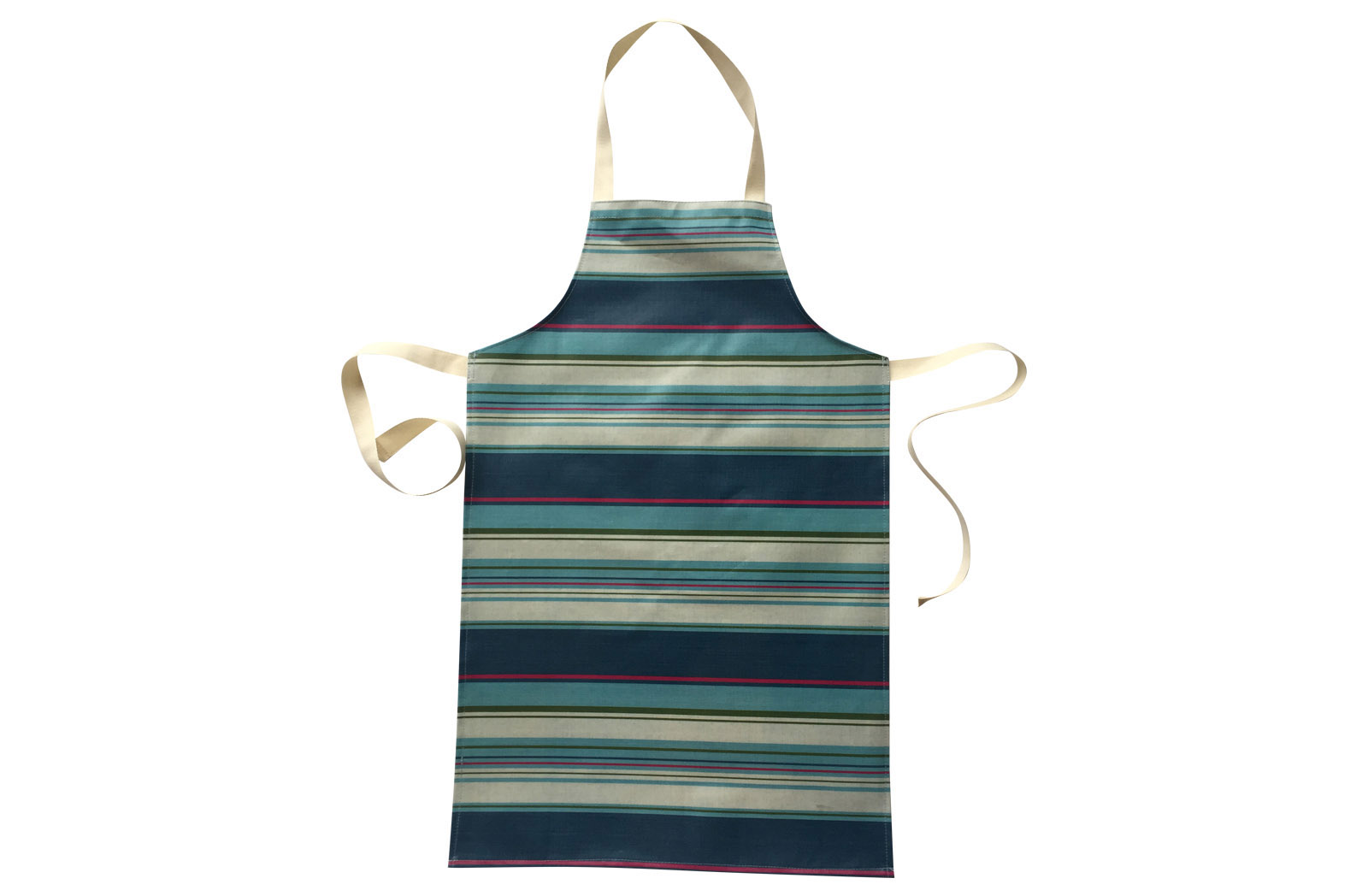 Petrol Blue Striped PVC Kids Aprons | Oilcloth Aprons for Children Petrol Blue  Pale Blue  Cream  Stripes