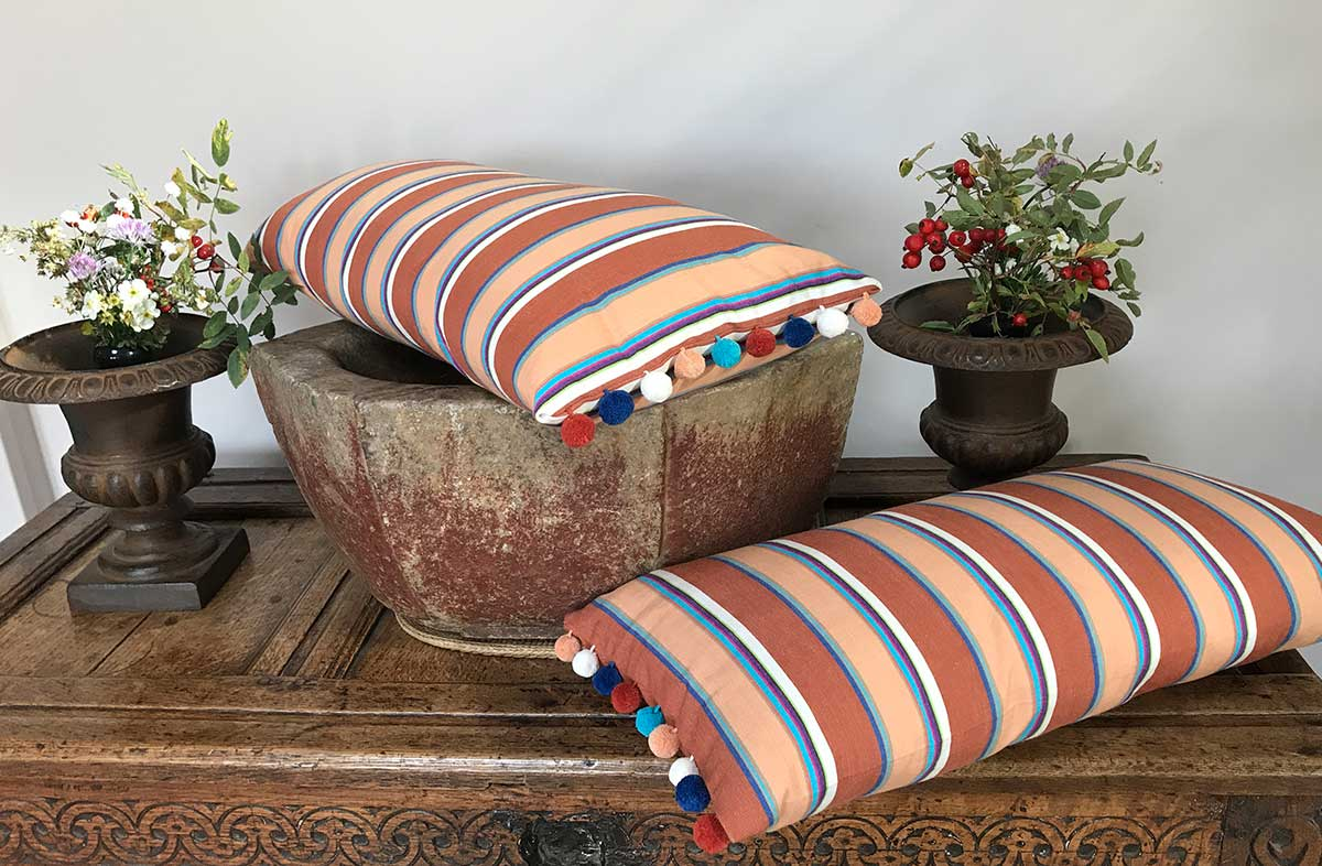Striped Oblong Cushions with Bobble Fringe  chestnut, peach, off white