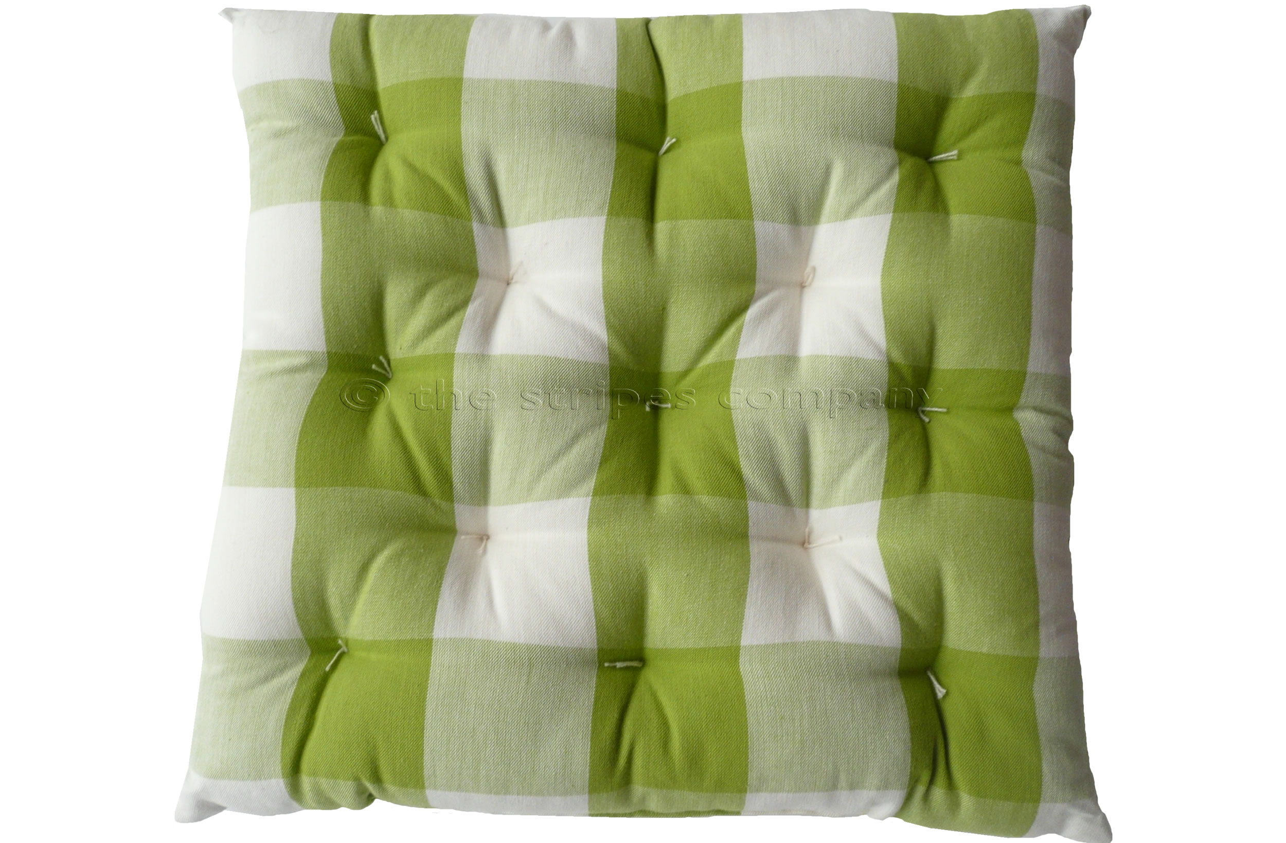Gingham Seat Pads | Green and White Large Check Chair Cushions | Vichy Check Seat Pads