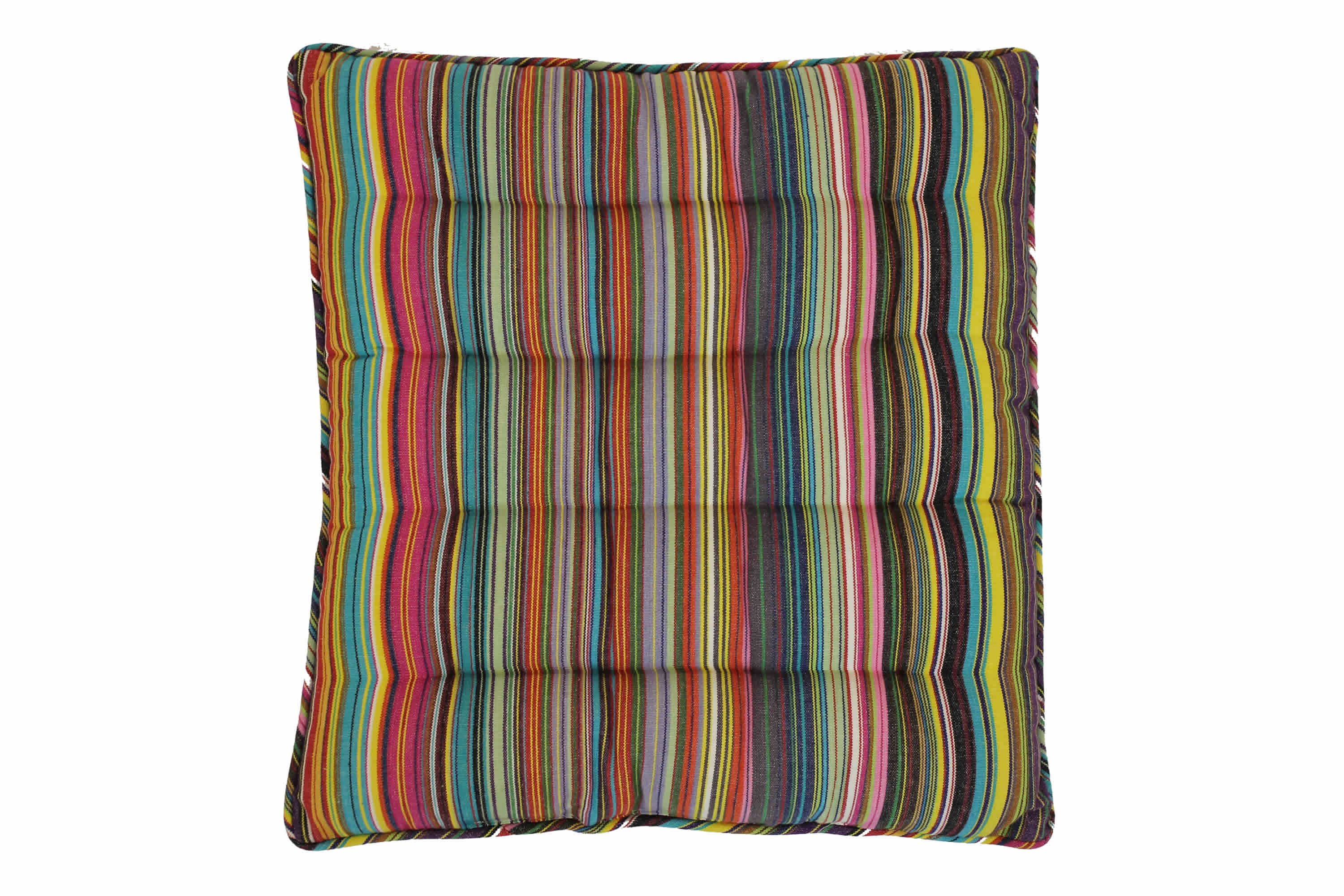 Striped Seat Pads in thin rainbow multi stripes